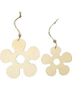 Décorations en bois, fleur, d: 12,3+16,5 cm, ép. 5 mm, 2 pièce/ 1 Pq.