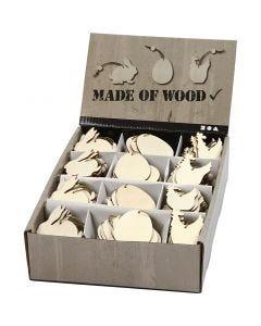 Décorations en bois, lapin, oeuf, poule, dim. 6 cm, ép. 3 mm, 200 pièce/ 1 Pq.