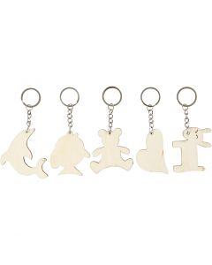 Porte-clés avec pendentifs en bois, dim. 5,5x5,5 cm, ép. 2 mm, 5 pièce/ 1 Pq.