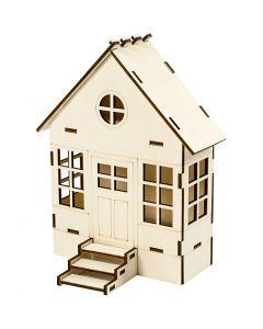 Maison à assembler, H: 24 cm, prof. 6(12,5) cm, L: 19 cm, 1 pièce