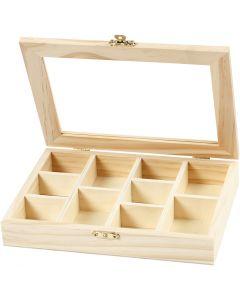 Boîte avec un couvercle en verre, dim. 15,5x20,5x3,5 cm, 1 pièce