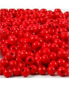 Perles en bois, d: 5 mm, diamètre intérieur 1,5 mm, rouge, 6 gr/ 1 Pq.