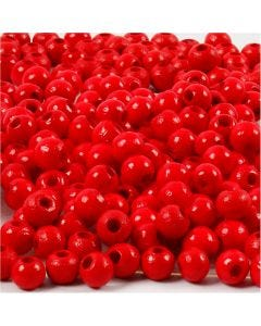 Perles en bois, d: 5 mm, diamètre intérieur 1,5 mm, rouge, 6 gr/ 1 Pq., 150 pièce