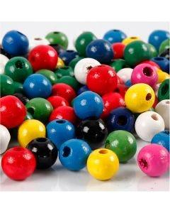Mélange de perles en bois, d: 8 mm, diamètre intérieur 2 mm, couleurs assorties, 200 gr/ 1 Pq.