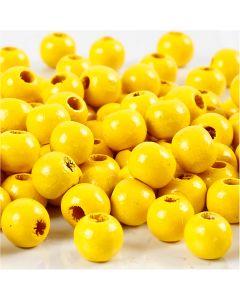 Perles en bois, d: 8 mm, diamètre intérieur 2 mm, jaune, 15 gr/ 1 Pq.