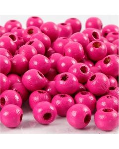 Perles en bois, d: 8 mm, diamètre intérieur 2 mm, rose, 15 gr/ 1 Pq., 80 pièce