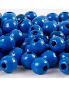Perles en bois, d: 10 mm, diamètre intérieur 3 mm, bleu, 20 gr/ 1 Pq.