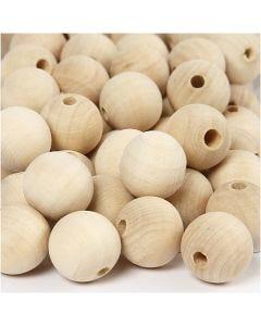 Perle en bois, d: 20 mm, diamètre intérieur 4 mm, 200 pièce/ 1 Pq.