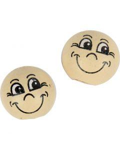 Boules en bois avec visage, d: 12 mm, beige clair, 20 pièce/ 1 Pq.