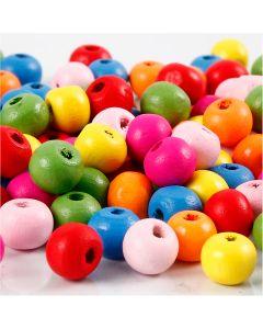 Mélange de perles en bois, d: 8 mm, diamètre intérieur 1,5-2 mm, couleurs assorties, 16 gr/ 1 Pq.