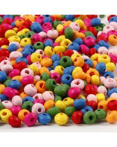 Mélange de perles en bois, d: 4 mm, diamètre intérieur 1-1,5 mm, 300 gr/ 1 sac
