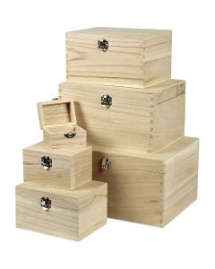 Set de boîtes en bois, H: 5+7+9+11+13+15 cm, L: 8+11,8+15,8+20+24+27,7 cm, L: 5,8+8,8+12+15+18+21 cm, 6 pièce/ 1 set