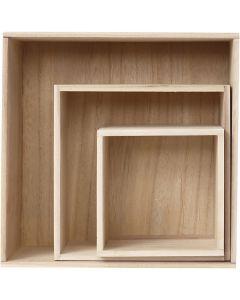 Boîtes de rangement, carré, H: 15x15+21,5x21,5+28x28 cm, prof. 12,5 cm, 3 pièce/ 1 set
