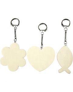 Porte-clés avec pendentif en bois, dim. 6-7 cm, ép. 3 mm, 12 pièce/ 1 Pq.