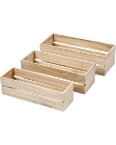 Caisses à fruits, H: 6,5+7+7,5 cm, L: 22+23,5+25 cm, L: 7+8,5+10 cm, 3 pièce/ 1 set
