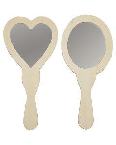 Miroirs à main, dim. 23-24 cm, 2 pièce/ 1 Pq.