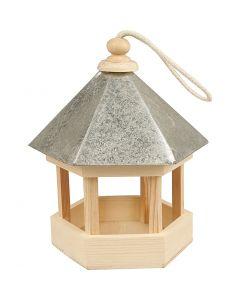Mangeoire pour oiseaux avec toit en zinc, dim. 22x18x16,5 cm, 1 pièce