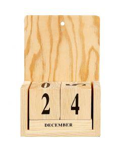 Calendrier en bois, dim. 13x5,5x19,2 cm, 1 set