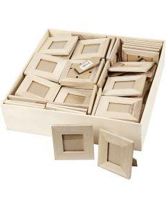 Cadre en bois avec pied, dim. 10x10+9x11 cm, 80 pièce/ 1 Pq.