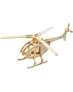 Kit de construction 3D en bois, hélicoptère, dim. 26,5x14x26 cm, 1 pièce