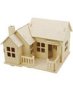 Kit de construction 3D en bois, Maison avec terrasse, dim. 19x17,5x15 , 1 pièce