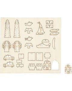 Figurines à assembler, quotidien, L: 15,5 cm, L: 17 cm, 1 Pq.