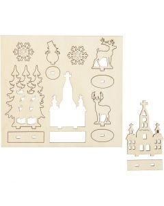 Figurines à assembler, église, arbre de Noël, renne, L: 15,5 cm, L: 17 cm, 1 Pq.
