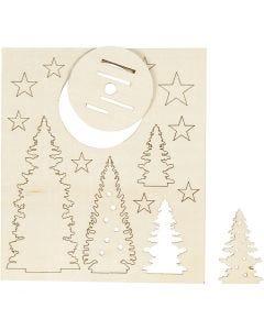 Figurines à assembler, Sapins de Noël, L: 20 cm, L: 17 cm, 1 Pq.
