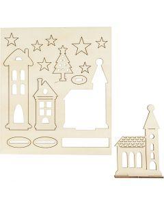 Figurines à assembler, Ville de Noël, L: 20 cm, L: 17 cm, 1 Pq.