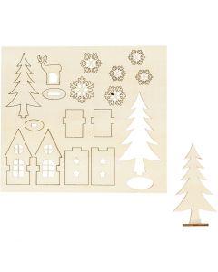 Figurines à assembler, maison, arbre, cerfs, L: 15,5 cm, L: 17 cm, 1 Pq.