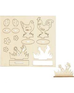 Figurines à assembler, Poules et fleurs, L: 15,5 cm, L: 17 cm, 1 Pq.