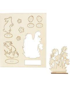 Figurines à assembler, Lapins et fleurs, L: 20 cm, L: 17 cm, 1 Pq.