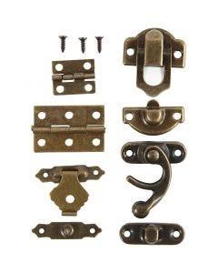 Mini-ferrures, dim. 16x19-19x29,5 mm, or antique, 15 set/ 1 Pq.