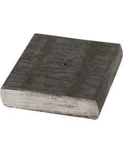 Socle en métal, dim. 4x4x1 cm, diamètre intérieur 2 mm, 1 pièce