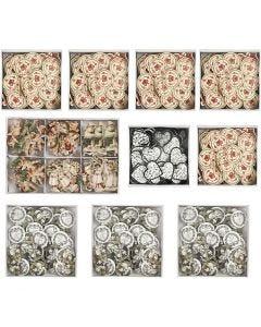 Stickers en bois, dim. 20-50 mm, 10 Pq./ 1 boîte