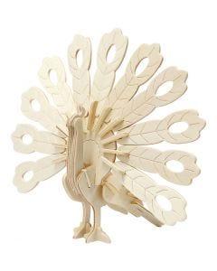 Figurine à assembler en 3D, paon, dim. 10x20,5x17,5 cm, 1 pièce