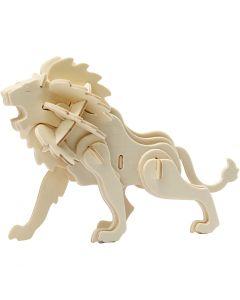 Figurine à assembler en 3D, lion, dim. 18,5x7x7,3 , 1 pièce