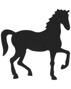 Étquette en carton, cheval, dim. 60x64 mm, noir, 10 pièce/ 1 Pq.