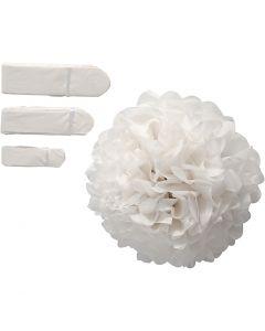 Pompons en papier, d: 20+24+30 cm, 14 gr, blanc, 3 pièce/ 1 Pq.
