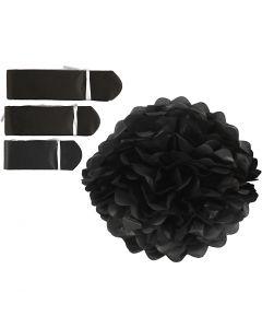 Pompons en papier, d: 20+24+30 cm, 16 gr, noir, 3 pièce/ 1 Pq.