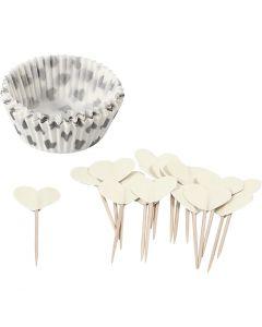 Papiers et piques pour cupcake, H: 3 cm, d: 5 cm, 40 gr, blanc cassé, 24 set/ 1 Pq.