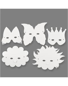 Masques, H: 15-20 cm, 230 gr, blanc, 5 pièce/ 1 Pq.