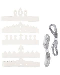 Couronnes, H: 10-16,5 cm, L: 60 cm, 230 gr, blanc, 50 pièce/ 1 Pq.