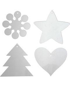 Décorations en acrylique, H: 7-8,5 cm, ép. 2 mm, 40 pièce/ 1 Pq.