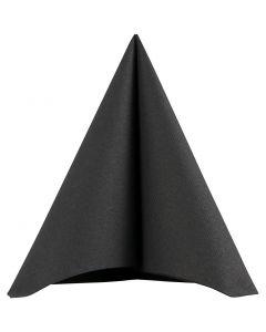 Serviettes de table, dim. 40x40 cm, 60 gr, noir, 20 pièce/ 1 Pq.