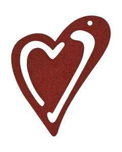 Coeur, dim. 55x45 mm, rouge vin, 10 pièce/ 1 Pq.
