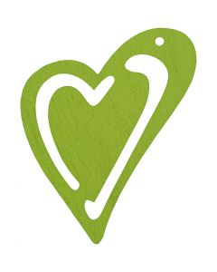 Coeur, dim. 55x45 mm, vert citron, 10 pièce/ 1 Pq.