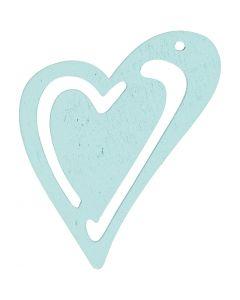 Coeur, dim. 55x45 mm, turquoise, 10 pièce/ 1 Pq.