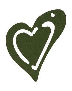 Coeur, dim. 25x22 mm, vert foncé, 20 pièce/ 1 Pq.