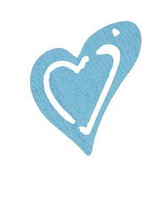 Coeur, dim. 25x22 mm, turquoise clair, 20 pièce/ 1 Pq.